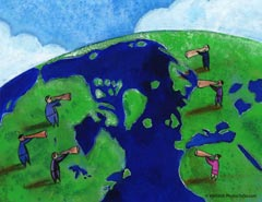 People shouting at the world over megaphones; Size=240 pixels wide